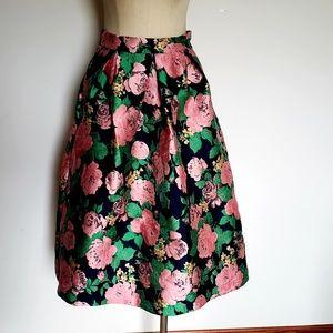 EUC Topshop Vibrant Floral Midi Pleated Skirt 6